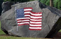 Bandiera americana verniciata su un masso Immagini Stock Libere da Diritti