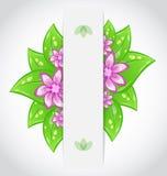 Bandiera amichevole di bio- eco di progettazione di massima con i fogli Immagini Stock