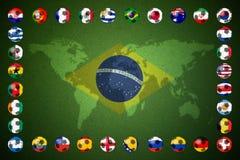 Bandiera astratta creativa del fondo del Brasile Fotografie Stock