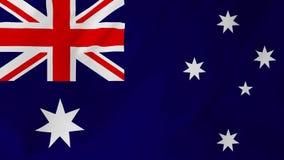 Bandiera australiana che ondeggia nel vento 2 in 1 stock footage