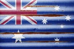 Bandiera australiana del metallo ondulato Fotografia Stock Libera da Diritti