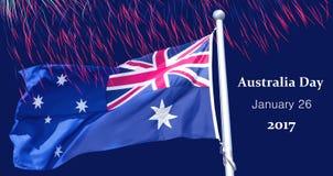 Bandiera australiana sopra il fondo dei fuochi d'artificio Fotografia Stock