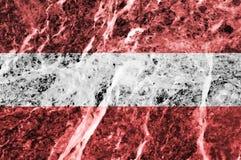 Bandiera austriaca su struttura di marmo Fotografia Stock Libera da Diritti