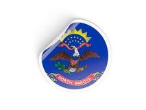 Bandiera autoadesivo rotondo del Dakota del Nord, stato USA Immagini Stock