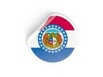 Bandiera autoadesivo rotondo del Missouri, stato USA Immagini Stock Libere da Diritti