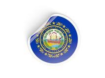 Bandiera autoadesivo rotondo del New Hampshire, stato USA Fotografie Stock Libere da Diritti
