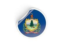 Bandiera autoadesivo rotondo del Vermont, stato USA Immagini Stock