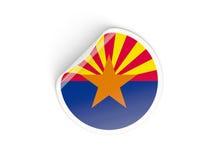 Bandiera autoadesivo rotondo dell'Arizona, stato USA Fotografie Stock