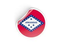 Bandiera autoadesivo rotondo dell'Arkansas, stato USA Fotografie Stock