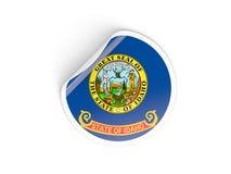 Bandiera autoadesivo rotondo dell'Idaho, stato USA Immagine Stock