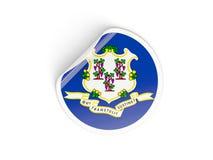 Bandiera autoadesivo rotondo di Connecticut, stato USA Fotografie Stock