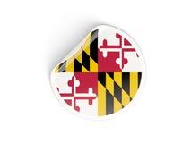 Bandiera autoadesivo rotondo di Maryland, stato USA Fotografia Stock Libera da Diritti
