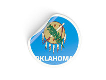 Bandiera autoadesivo rotondo di Oklahoma, stato USA Fotografie Stock