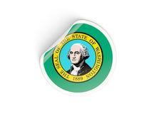 Bandiera autoadesivo rotondo di Washington, stato USA Fotografia Stock
