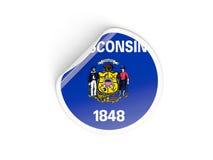 Bandiera autoadesivo rotondo di Wisconsin, stato USA Immagine Stock
