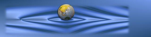 Bandiera blu con il globo Immagine Stock Libera da Diritti