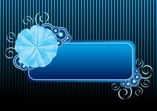 Bandiera blu del fiore Fotografie Stock