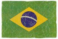 Bandiera brasiliana su bianco Fotografie Stock Libere da Diritti