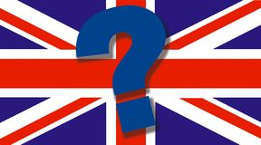 Bandiera britannica con il grande punto interrogativo sul concetto superiore di Brexit - economia dell'Inghilterra e del Regno Un illustrazione di stock