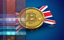 bandiera BRITANNICA del bitcoin 3d Fotografia Stock Libera da Diritti