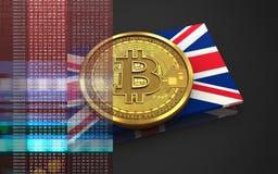 bandiera BRITANNICA del bitcoin 3d Fotografie Stock