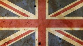 Bandiera BRITANNICA di Britannici della vecchia annata sopra legno bianco Fotografia Stock Libera da Diritti