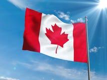 Bandiera canadese che ondeggia in cielo blu con il sole Immagini Stock