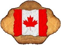 Bandiera canadese sulla sezione del tronco di albero Fotografia Stock