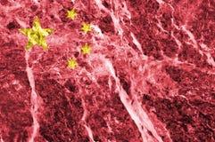 Bandiera cinese su struttura di marmo Fotografia Stock