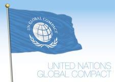 Bandiera compatta globale e simbolo delle nazioni unite illustrazione di stock