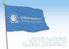 Bandiera compatta globale e simbolo delle nazioni unite illustrazione vettoriale
