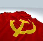 Bandiera comunista d'ondeggiamento Fotografia Stock Libera da Diritti