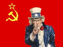 Bandiera comunista, zio Sam, fondo, politica fotografie stock libere da diritti