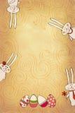 Bandiera con i coniglietti Immagini Stock