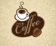 Bandiera con il caffè dell'iscrizione Fotografia Stock