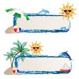 Bandiera con il mare e l'estate Fotografia Stock