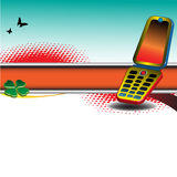 Bandiera con il telefono cellulare Immagini Stock