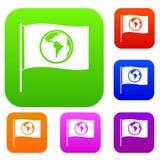 Bandiera con la raccolta stabilita di colore del pianeta del mondo Fotografie Stock Libere da Diritti