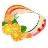 Bandiera con le fette arancioni Fotografie Stock