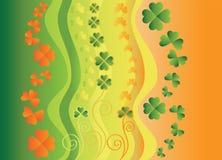 Bandiera con le foglie del trifoglio Immagine Stock