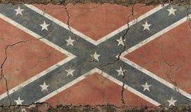 Bandiera confederata degli Stati Uniti dell'americano d'annata anziano di lerciume Fotografia Stock