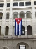 Bandiera cubana d'attaccatura Fotografia Stock Libera da Diritti