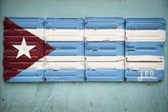 Bandiera cubana dipinta sulla parete Havana Cuba dell'hardware Fotografia Stock Libera da Diritti