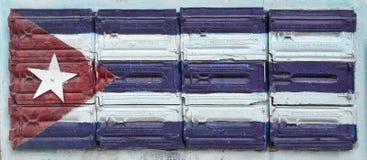 Bandiera cubana fatta sulle mattonelle Fotografia Stock Libera da Diritti