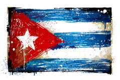 Bandiera cubana Grungy Fotografie Stock Libere da Diritti