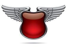 Bandiera d'argento con le ali Immagine Stock
