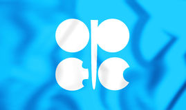 bandiera 3D dell'OPEC Fotografia Stock