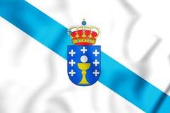 bandiera 3D della Galizia, Spagna Fotografia Stock Libera da Diritti