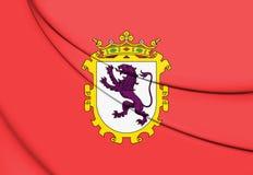 bandiera 3D di Leon City, Spagna illustrazione vettoriale