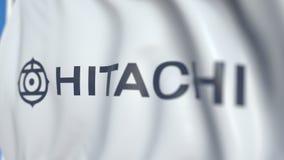 Bandiera d'ondeggiamento con Hitachi, srl logo, primo piano Animazione loopable editoriale 3D stock footage